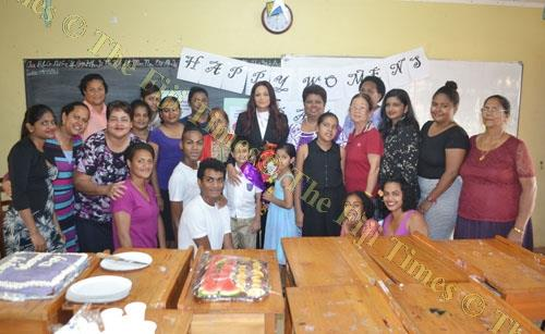 Human rights lawyer Sabrina Khan, middle back, with other women at an IWD celebration in Lautoka. Picture: SUPPLIED
