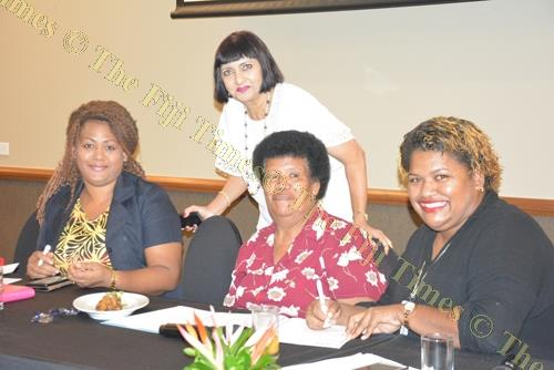 Women In Business president Dr Nur Bano Ali with women who attended the final application drive for their 2018 annual awards. Picture: FILIPE NAIGULEVU