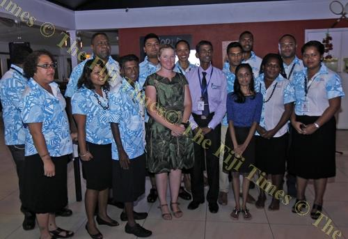 Australian deputy high commissioner Amy Crago poses with staff members of the Ministry of Health at the launch of the World Mosquito Program. Picture: ELIKI NUKUTABU