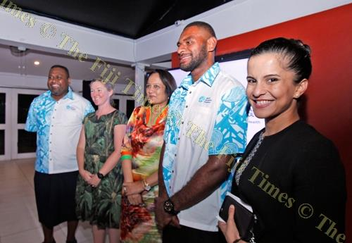 Fiji Sevens Olympian and Wolbachia champion Jasa Veremalua (2nd from right) at the World Mosquito Program launch in Suva on March 21. Picture: ELIKI NUKUTABU