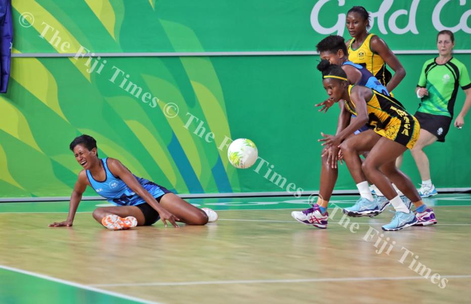 Fiji goal attack Alesi Waqa-Paul in pain after falling badly during the netball match at the Gold Coast Convention and Exhibition Centre in Australia yesterday. Picture: ELIKI NUKUTABU