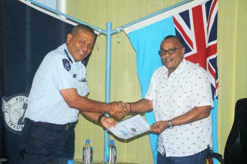 Blue Gas Fiji director Ajay Punja and DPC South SSP Tevita Waqabaca at the signing of the five-year MOU. Picture: SUPPLIED