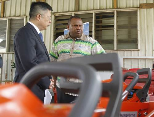 Ambassador of the People's Republic of China to Fiji Qian Bo and Minister Inia Seruiratu at the donation of $40k worth of recovery equipment in Suva this morning. Picture: JONA KONATACI