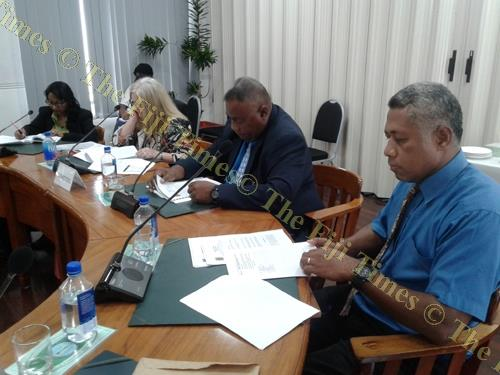 The Ministry of Fisheries and Forests team, from left; Sanjana Lal, Bernadette Welch, Sanaila Naqali and Taniela Naulu during their submission to PAC. Picture: Manasa Kalouniviti