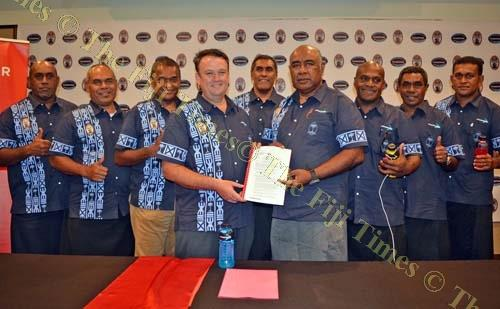 Coca-Cola Amatil Fiji general manager Roger Hare, fourth from left, with Fiji Secondary Schools Rugby Union executives during a press conference at the Holiday Inn Suva yesterday. Picture: JONACANI LALAKOBAU
