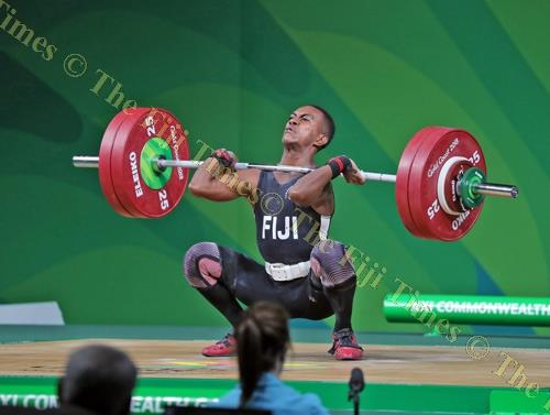 Fiji's Poama Qaqa in action during the 2018 Commonwealth Games weight-lifting 62kg men's category competition at the Carrara Sports Arena in Gold Coast, Australia, on Thursday. Picture: ELIKI NUKUTABU