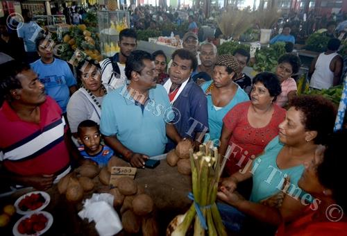 Minister for Local Government, Urban Development, Housing and Environment Parveen Kumar meets the Lautoka market vendors yesterday. Picture: BALJEET SINGH