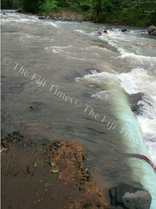 Exposed and damaged WAF raw water bulk pipelines in the Dogoru River. Picture: SUPPLIED