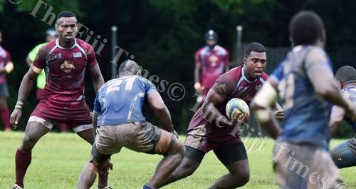 The Nasinu back line on attack against Police White in the Koroturage Shield challenge match at Bidesi Ground in Suva yesterday. Nasinu won the match 9-8. Picture: ATU RASEA