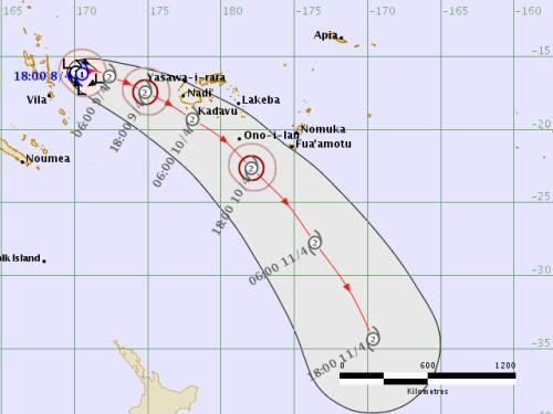 The forecast track for TC Keni. Picture: SUPPLIED/Fiji Met