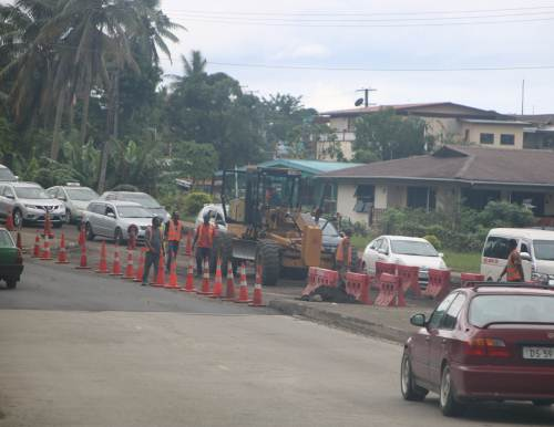 Road works along the Kings Road from Makoi lights to Laqere lights have resumed. Picture: SUPPLIED