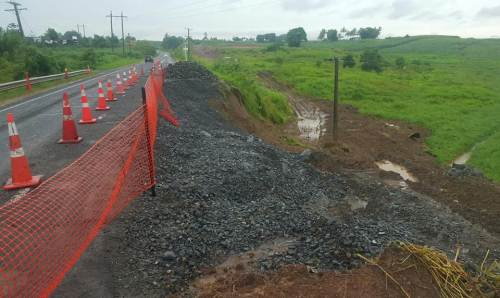 The landslip at Batiri in Sigatoka that led to the Queens Road being reduced to a single lane. Picture: SUPPLIED/FRA