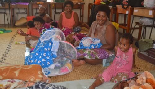 Adelaide Marama, 3, Losalini Makosa, Kesaia Dovitaba, Helen Vosare and Jekope Durinavatu at the evacuation centre at Guru Nanak Khalsa College in Labasa. Picture: LUISA QIOLEVU