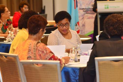 Participants engaged in a discussion during the Women's Ministerial Meeting at the Holiday Inn in Suva today. Picture: JOVESA NAISUA