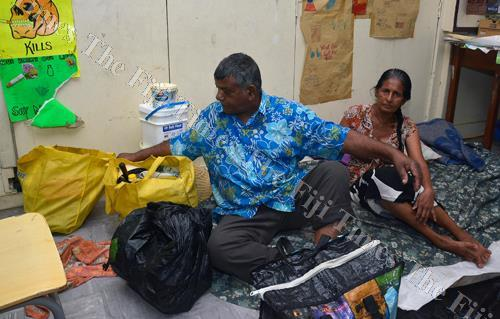 Bim Chand with his wife Durka Wati of Nawajikuma settlement at St Andrews Primary School evacuation centre in Nadi yesterday. Picture: BALJEET SINGH
