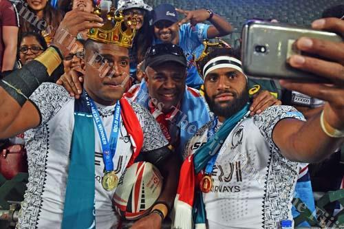 Josua Vakarunabili (left) and Semi Kunatani of Fiji Airways Fiji 7s team with the fans after the final of the World Rugby HSBC 7s Series against Kenya in Hong Kong. Picture: RAMA