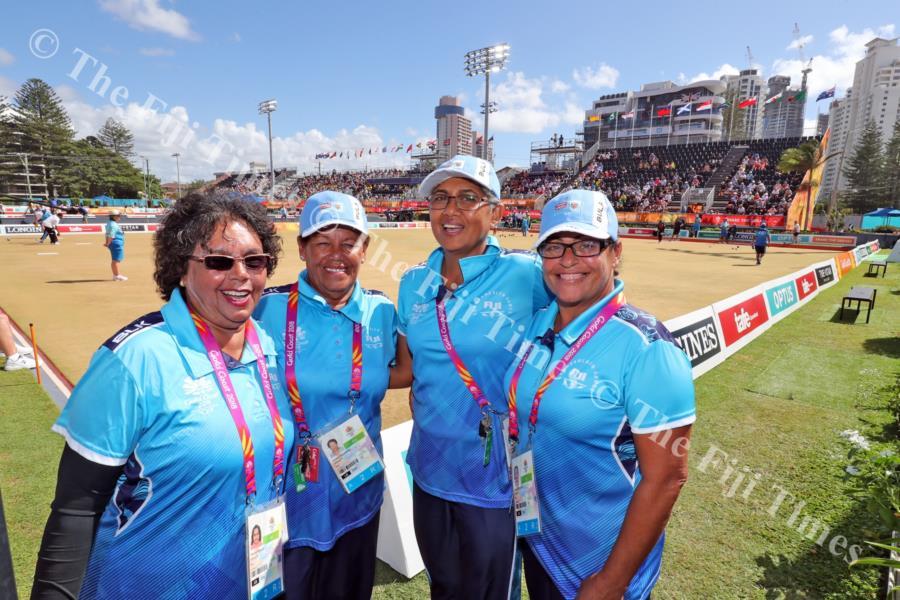 From left: Radhika Prasad, Doreen O'Connor, Sheral Mar and Loreta Kotoisuva at the Broadbeach Lawn Bowls Centre. Picture: ELIKI NUKUTABU