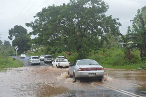 Heavy rainfall in Labasa this morning caused flash floods in Solove outside the town area. Picture: SERAFINA SILAITOGA