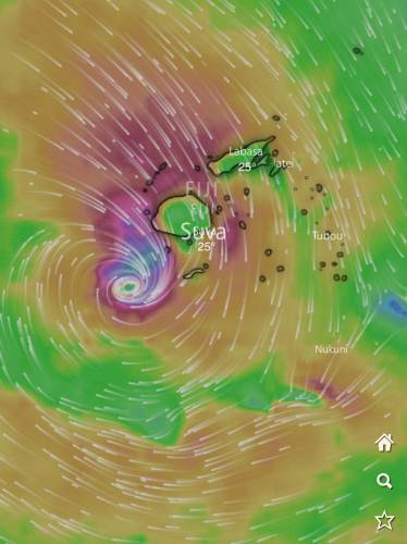 The current projected closest contact that TC Keni will make with the group is at 3pm today when it will be 90km off of the South Western coast of Viti Levu. Picture: Windy