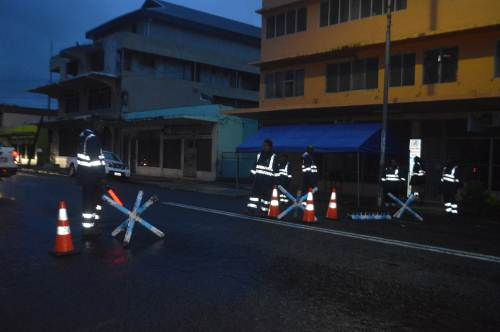 Police officers at checkpoints in Labasa Town this evening. Picture: LUISA QIOLEVU