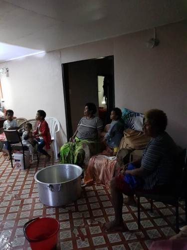Some of the evacuees at Ms Tukana's home in Namuana Village, Kadavu. Picture: SUPPLIED