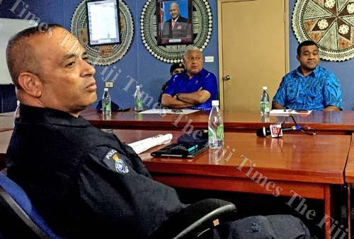 Commissioner of Police Brigadier-General Sitiveni Qiliho (left), Prime Minister Voreqe Bainimarama and Ministry of iTaukei Affairs permanent secretary and chief executive officer iTaukei Affairs Board Naipote Katonitabua during a briefing at the NDMO yest