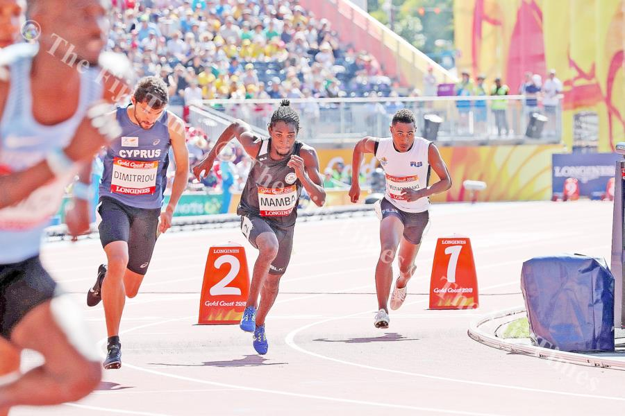 Petero Veitaqomaki in action in the men's 800m heats. He finished 8th with a time of 1min 54.22sec. Picture: ELIKI NUKUTABU