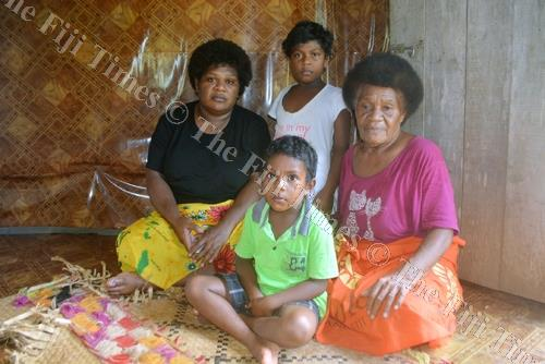 Mereilisoni Nabaro (right) with her daughter-in-law Virisila Musu and grandchildren Eleni Nabaro and Joveci Roqiqi Jr at her home in Naitamusu settlement in Ba. Picture: REINAL CHAND