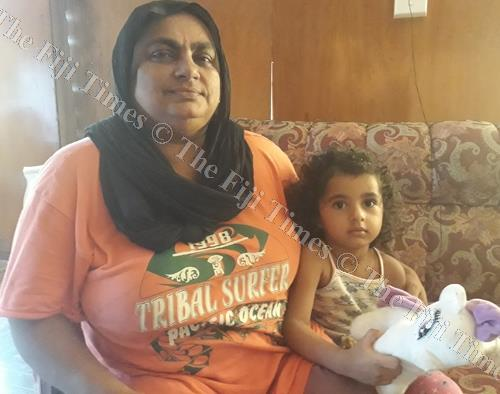 Tazmul Nisha with her granddaugter Ahiyla Khan at their home in Seaqaqa. Picture: LUISA QIOLEVU