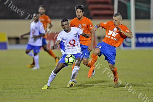 Lautoka's Pranil Naidu battles for possession against AS Dragons in the Oceania Football Confederation (OFC) Champions League quarter-final match. Picture: SUPPLIED