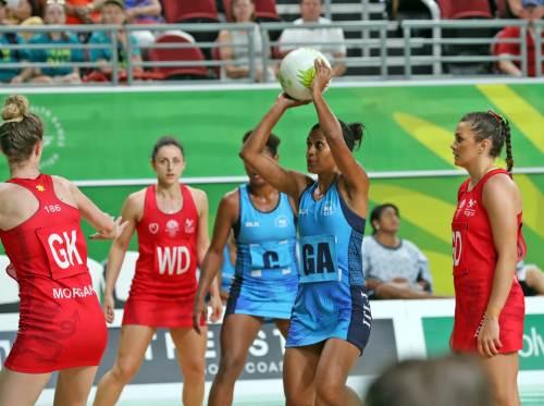 Fiji's Nina Cirikisuva focuses on her shot against Wales at the Gold Coast Convention & Exhibition Centre. Picture: Eliki Nukutabu