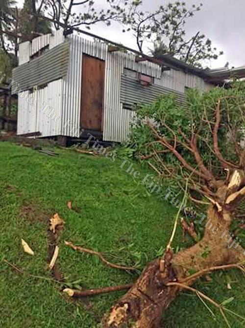 The evacuation centre near Lomanikoro in the district of Nakasaleka on Kadavu had its roof blown away. Picture: SUPPLIED