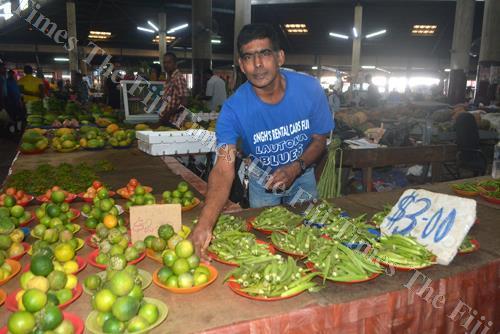 Market vendor Jagendra Naidu at his stall at the Lautoka Municipal Market. Picture: REINAL CHAND