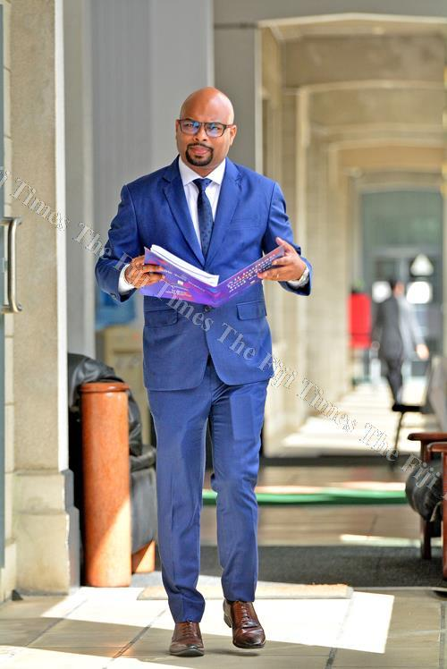 Ashwin Raj on his way to give his submissions to the Standing Committee on Justice, Law and Human Rights in Parliament yesterday. Picture: JONA KONATACI