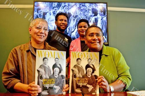"""""""I am Woman"""" magazine publisher Lorraine Foster and editor-in-chief Fay Volatabu with (back) Epi Nasaroa and Makrita Dawai after their launch yesterday. Picture: JONA KONATACI"""