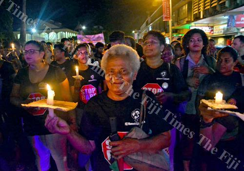 Participants during the Fiji Women's Crisis Centre annual Reclaim the Night march in Suva last month. Picture: JONACANI LALAKOBAU