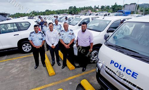 Commissioner of Police Brigadier-General Sitiveni Qiliho (second from right) with director traffic Senior Superintendent of Police Mahesh Mishra, Asco Motors general manager sales Seiji Tokito and Abdul Imitiaz from the Ministry of Economy with the new po