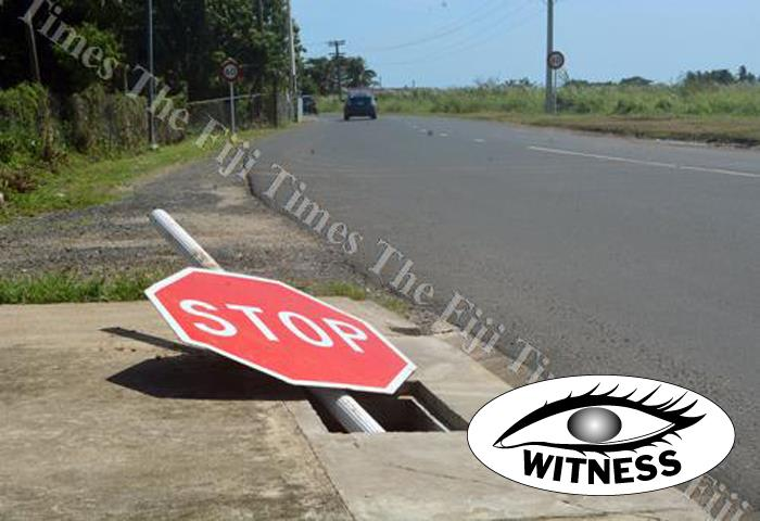 This STOP sign at Fantasy Road in Nadi needs to be fixed urgently. Picture: REINAL CHAND