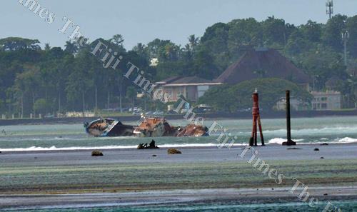 The Lurongyuanyu fishing vessel stuck and sunk along the Suva passage yesterday.Picture ATU RASEA