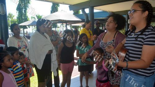 From right to left, Mia Kami and Joy Kami entertain WOWS Kids Fiji kids and their families during a workshop in Lautoka yesterday. Picture: REPEKA NASIKO