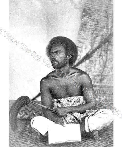 Ratu Tevita Uluilakeba is shown holding a fly whisk, i roi, which identifies him as a person of high rank. He was the father of Ratu Sir Kamisese Mara, the former president and prime minister of Fiji. Picture: FIJI MUSEUM