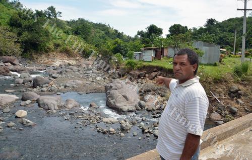 Turaga-ni-koro Waikbukubu village Peceli Natusoro shows the damages done by the recent flood in Nadarivatu. Picture: BALJEET SINGH