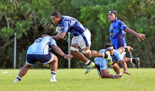 Jitoko Usamaki of Navy on attack against QVSOB during the Escott Shield challenge at Bidesi Ground yesterday. Picture: RAMA