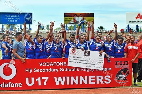 The Lelean memorial School U17 team and officials after their win at the ANZ Stadium yesterday. Picture: Rama
