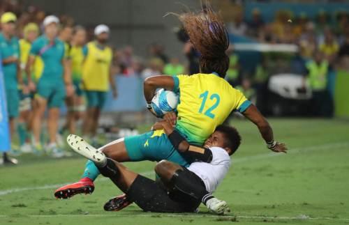 Fijiana winger Miriama Naiobosalu tackles Elia Green of Australia at the Robina Stadium on the Gold Coast, Australia. Picture: ELIKI NUKUTABU