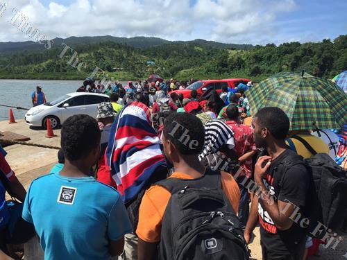 Passengers wait at the Nabouwalu Jetty to find out if they were among those to board the boat. Failing that, they had to return to Savusavu or Labasa. Picture: ANA MADIGIBULI
