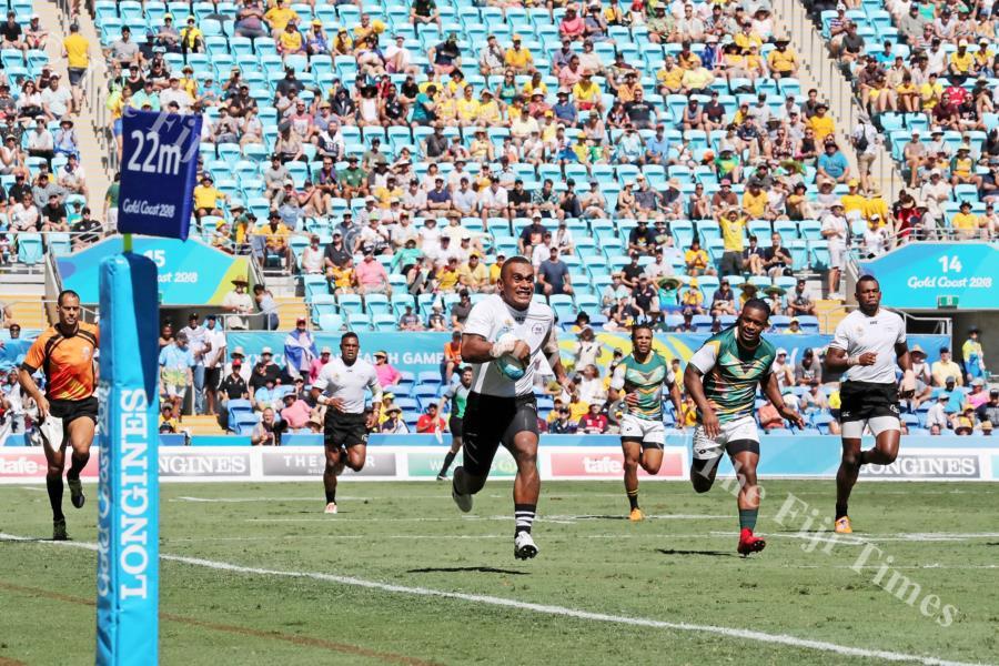 Eroni Sau's runs away from the South African defence to score at Robina Stadium in Gold Coast, Australia on Sunday. Picture: ELIKI NUKUTABU