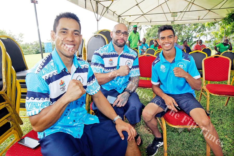 The boxing team, from left, Winston Hill, coach Napoleon Taumoepeau and Nathan Singh at Borron House in Suva. Picture: ELIKI NUKUTABU
