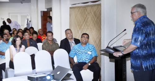 Ambassador of the Delegation of the European Union for the Pacific Julian Wilson speaking during the launch. Picture: ATU RASEA