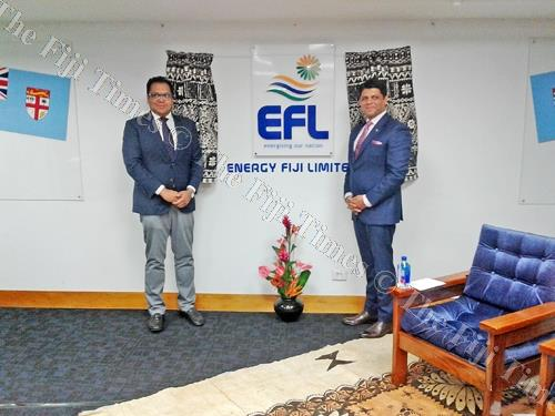 Attorney-General and Minister for Public Enterprises Aiyaz Sayed-Khaiyum (right) and EFL chairperson Daksesh Patel during the FEA's corporatisation announcement on Monday. Picture: Manasa Kalouniviti